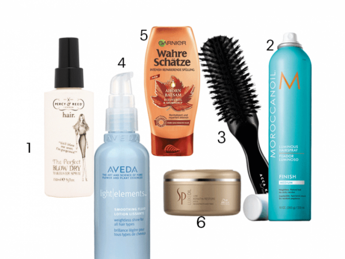 "1. Föhn-Styling-Spray ""The Perfect Blow Dry Makeover Spray"" von Percy & Reed schützt vor Hitzeschäden, um 17 Euro, 2. ""Luminous Hairspray Medium"" mit Arganöl von Moroccanoil, um 23 Euro, 3. ""Power Styling Brush"" mit Naturborsten von Acca Kappa, um 42 Euro, 4. Serum ""Light Elements Smoothing Fluid"" von Aveda verleiht mit Jojobaöl Glanz, um 33 Euro, 5. ""Wahre Schätze Ahorn Balsam Intensiv reparierende Spülung"" von Garnier, um 3 Euro, 6. ""SP Luxeoil Keratin Restore Mask"" mit Keratin von Wella Professionals, um 40 Euro.  